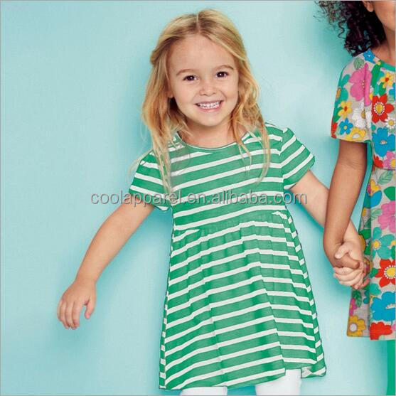 2017 new beautiful striped kids normal cotton girls casual frock designs