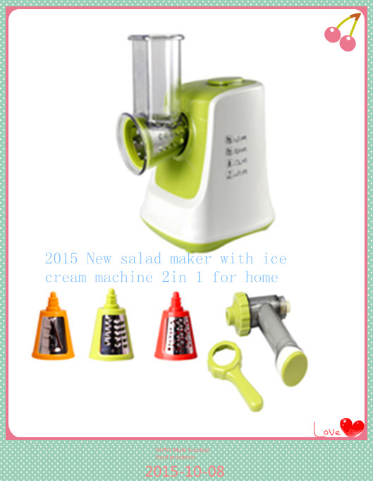 2015 GS FDA certificated new salad maker with ice cream machine 2 in 1for home food processor