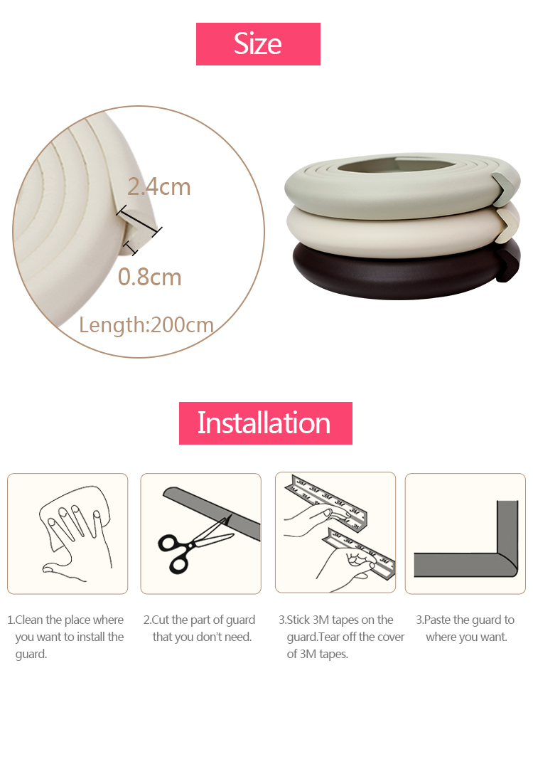 Wholesale Household Items Rubber Table Edge Guard for Baby
