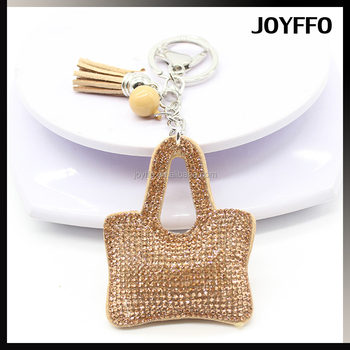 Crystal Rhinestone Bag Shape Tassel Handbag Charm Pendant Car Keychain Keyring
