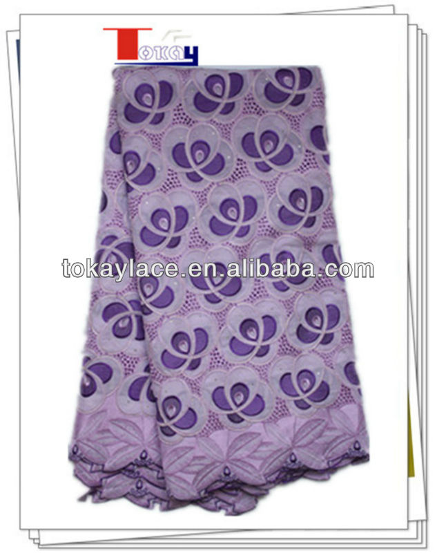 2016 Hot Selling Summer purple and lilac Swiss viole Lace Fabric for Wedding