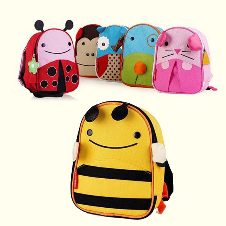 0ad910147531 Get Quotations · Animal Canvas Kids School Children Backpack Wasp Ladybug  Owl Monkey Mouse Dog Schoolbag For Kids Kindergarten