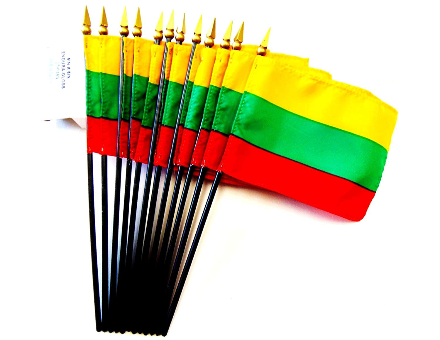 "MADE IN USA!! Box of 12 4""x6"" Lithuania Desk & Table Flags; 12 American Made Small Mini Lithuanian Flags in a Custom Made Cardboard Box Specifically Made for These Flags"
