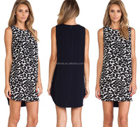 women sleeveless simple life dress in leopard print