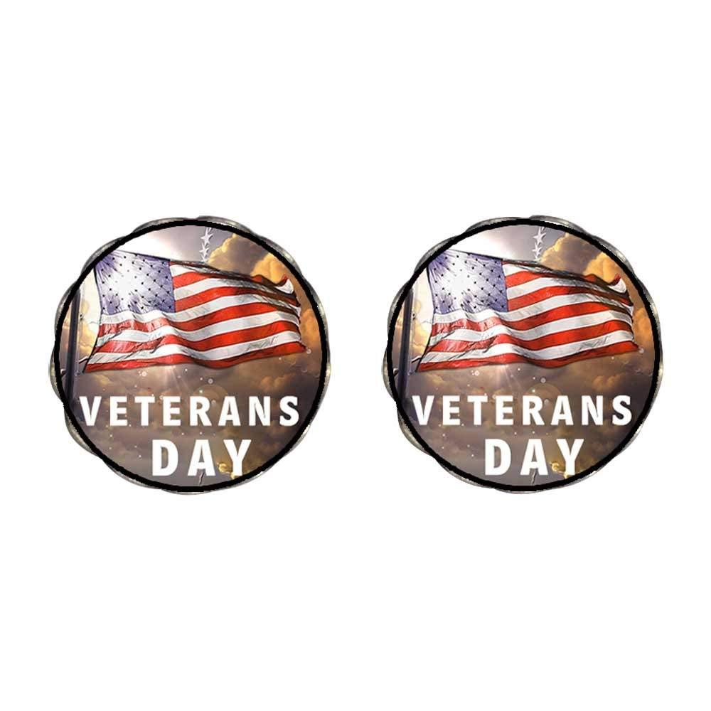 GiftJewelryShop Bronze Retro Style Veterans Day American flag Photo Clip On Earrings Flower Earrings #12