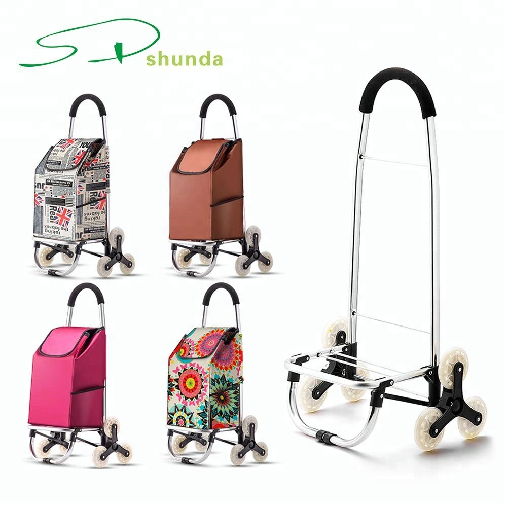 Waterproof Grocery Laundry Utility Cart with Wheel Bearings Stainless Steel Folding Oxford Bag Shopping Cart Trolley