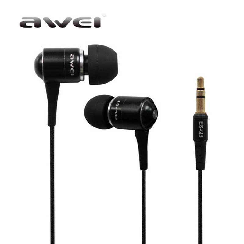 Original Awei ES Q3 New High Quality 3.5mm Jack Noise Isolation Headphone In-ear Earphone for MP3/MP4 For Samsung For Phone