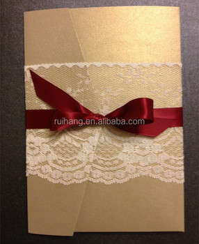 2015 New Design Gold Pocketfold Rosette Lace Wedding Invitation Cards With Red Silk Ribbon Buy New Design Wedding Invitation Cards Lace Wedding