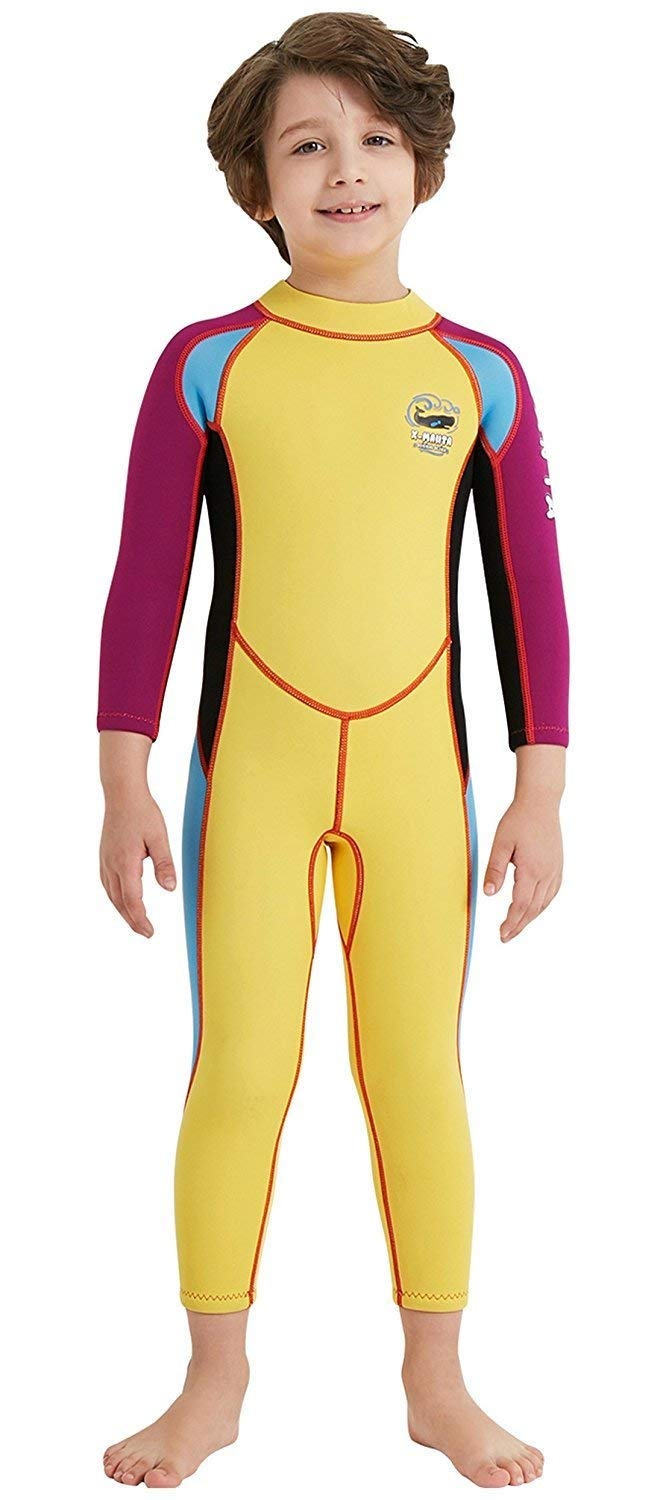 96503bc79f1 EveningSHOW Dive & SAIL Kids 2.5mm Wetsuit Long Sleeve One Piece UV  Protection Thermal Swimsuit