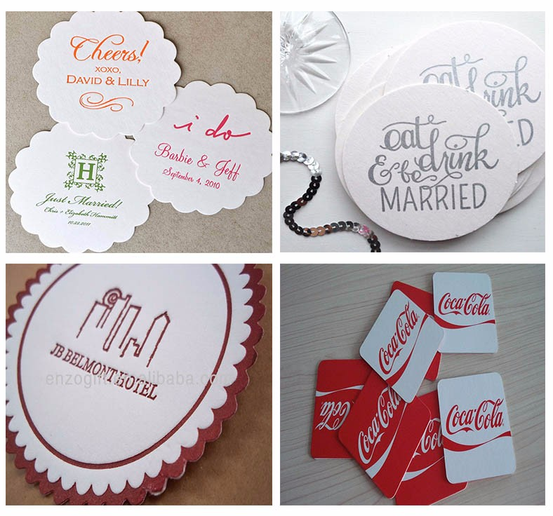 Absorbent Tissue Paper Coaster Coffee Beer Mats For Custom