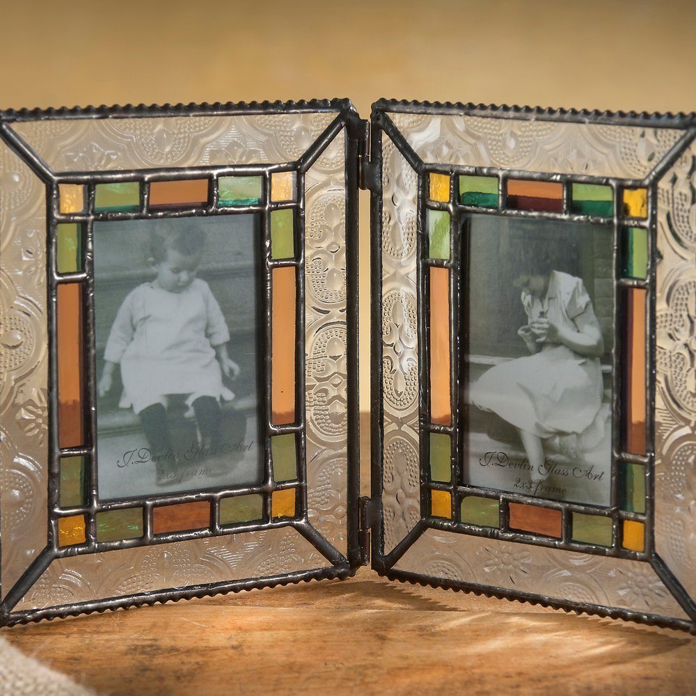 J Devlin Pic 137-2 Double Picture Frame Tabletop 2x3 Photo Frame Colorful Stained Glass Sage Green, Pale Purple, Amber Holds Two School Photos