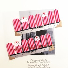 Pink Strawberry Cakes Nail Art Sticker Patch 14 pcs set Waterproof Decals Foils Gel Polish French