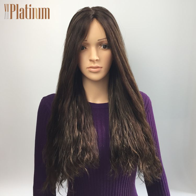 Customized light brown highlight european human hair wig,no shedding and no tangling wavy wig