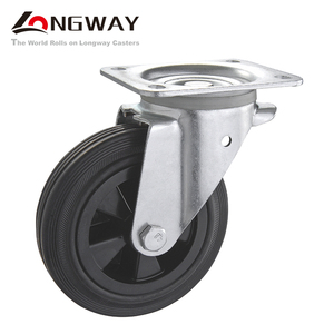 Long way 6.5/8 inch Waste bin solid PP core rubber casters for garbage containers 150mm