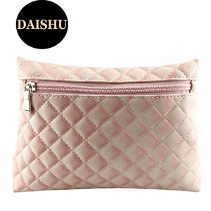 Cute Pink Beauty Bag Women's Custom Quilted Pouch Bag Cosmetic Brand Zipper Pouch For Promotion