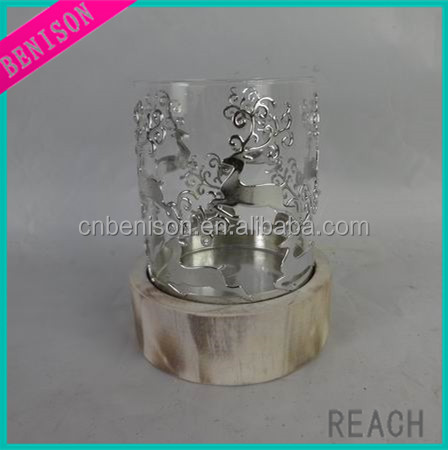 High quality Vacuum coating christmas deer shape metal candle holder and wood holder candlestick table deocration