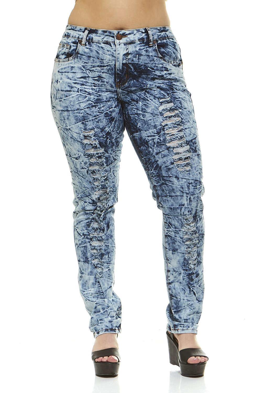 50f0cdb405c Get Quotations · V.I.P.JEANS Ripped Distressed Washed Skinny Stretch Jeans  for Women Junior Or Plus Sizes