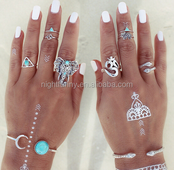 Set of eight Antique Silver Rings,Gypsy Ring, Boho Turquoise Elephant Ring