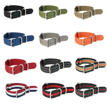 18mm 20mm 22mm Sport 5 Rings Nato Nylon Watch Strap With Black Buckle Fabric Zulu Nylon Watch Band