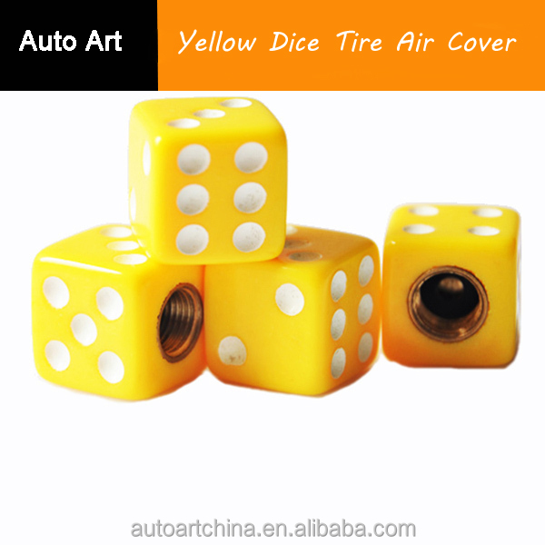 Motorcycle Car Truck SUV Bike Valve Stem Caps Solid Yellow Dice Tire Air Cover
