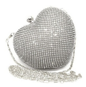 Girls Heart Shape Rhinestone Gold Evening Clutch Bag Women Handbag Dinner Silver Clutch Purse Chain Shoulder