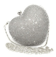 Girls Heart Shape Rhinestone Gold Evening Clutch Bag Women Handbag Dinner Silver Clutch Purse Chain Shoulder Clutch Purse XA812A