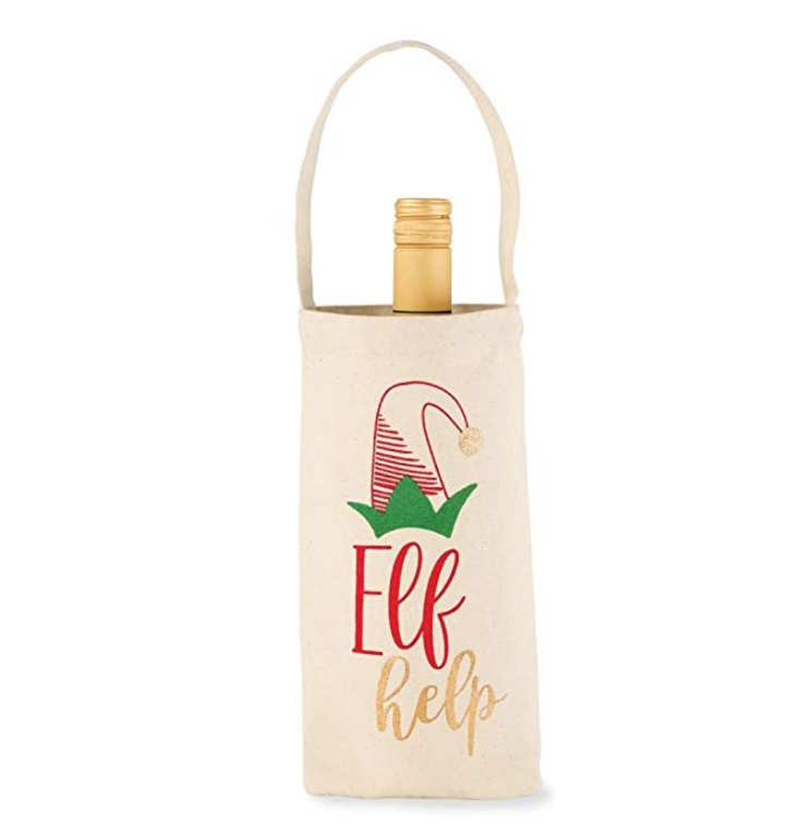 fancy gift decorative cover single fabric canvas christmas wine bottle bag