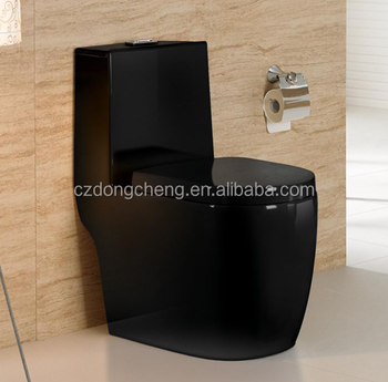 Bathroom Ceramic Black Color Toilet Round Shape Indian Wc Water Closet Size