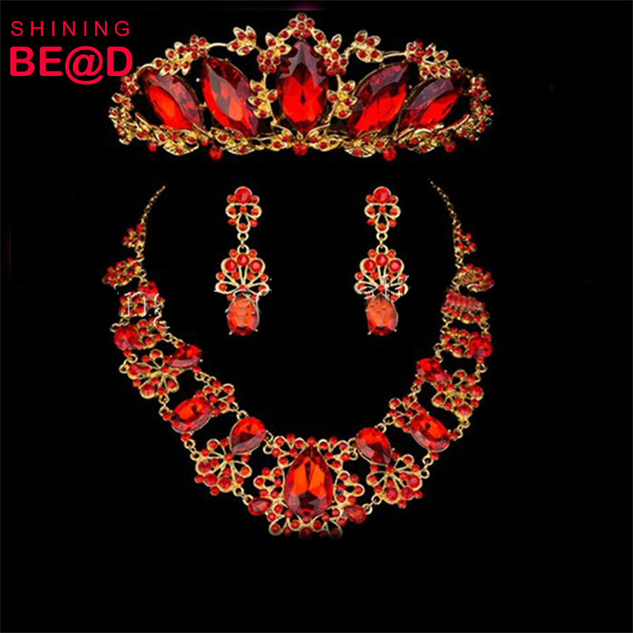Bridal Austrian Red Necklace and Earrings Jewelry Set Gifts fit with Wedding Dress