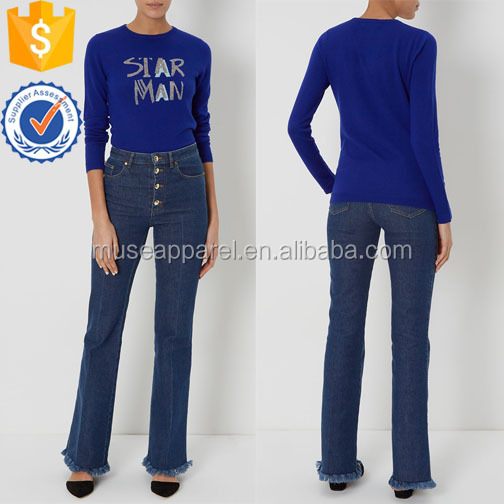Blue Knitted Jumper Women Apparel Wholesaler Garment Clothing