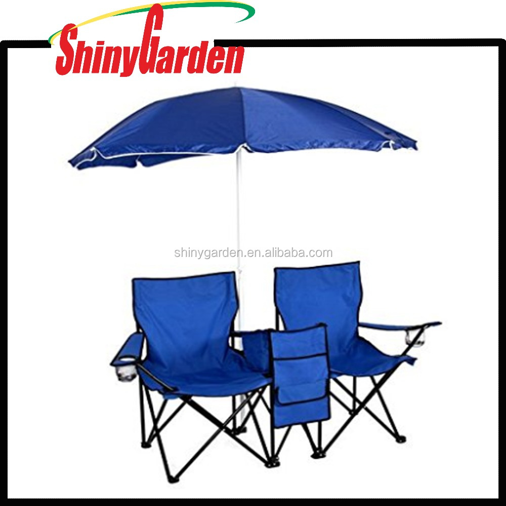 Portable Folding Picnic Double Chair With Umbrella Table Cooler Beach Camping Chair for Outdoor