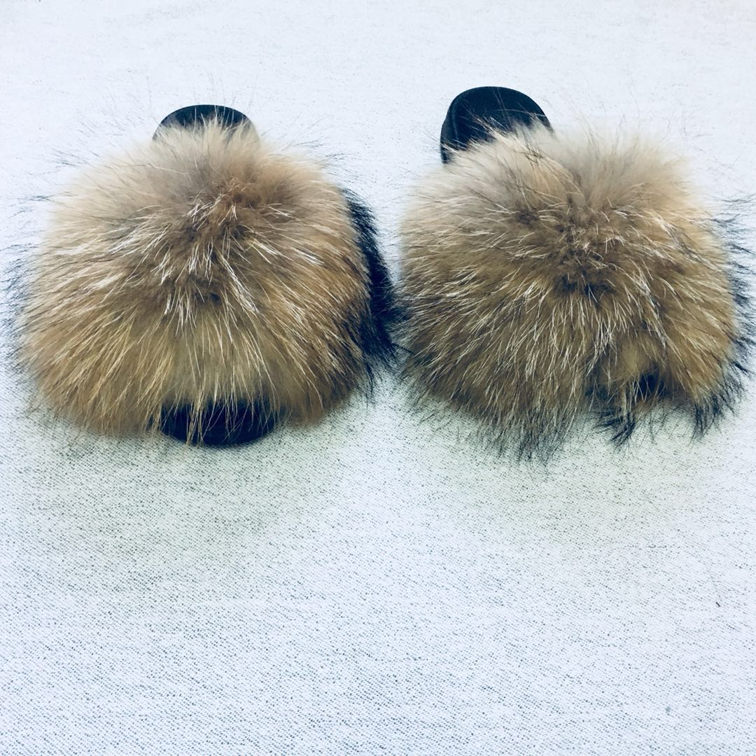 100/% Real Fox Fur Sliders Fluffy Flat Sandal children Slippers Shoes pink