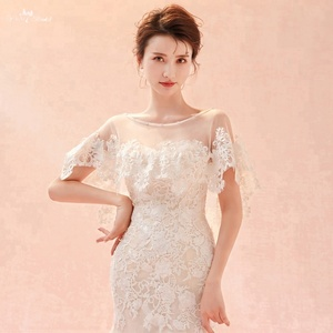 LZP280 Yiaibridal Wedding Accessories Front Short Long Back Wedding Shawl Champagne Lace Ivory Tulle Bridal Bolero Woman