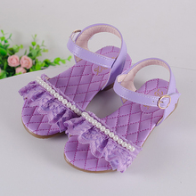 2016 New arrival for children leather kids girl sandals princess girls sandals Summer flats Lace and