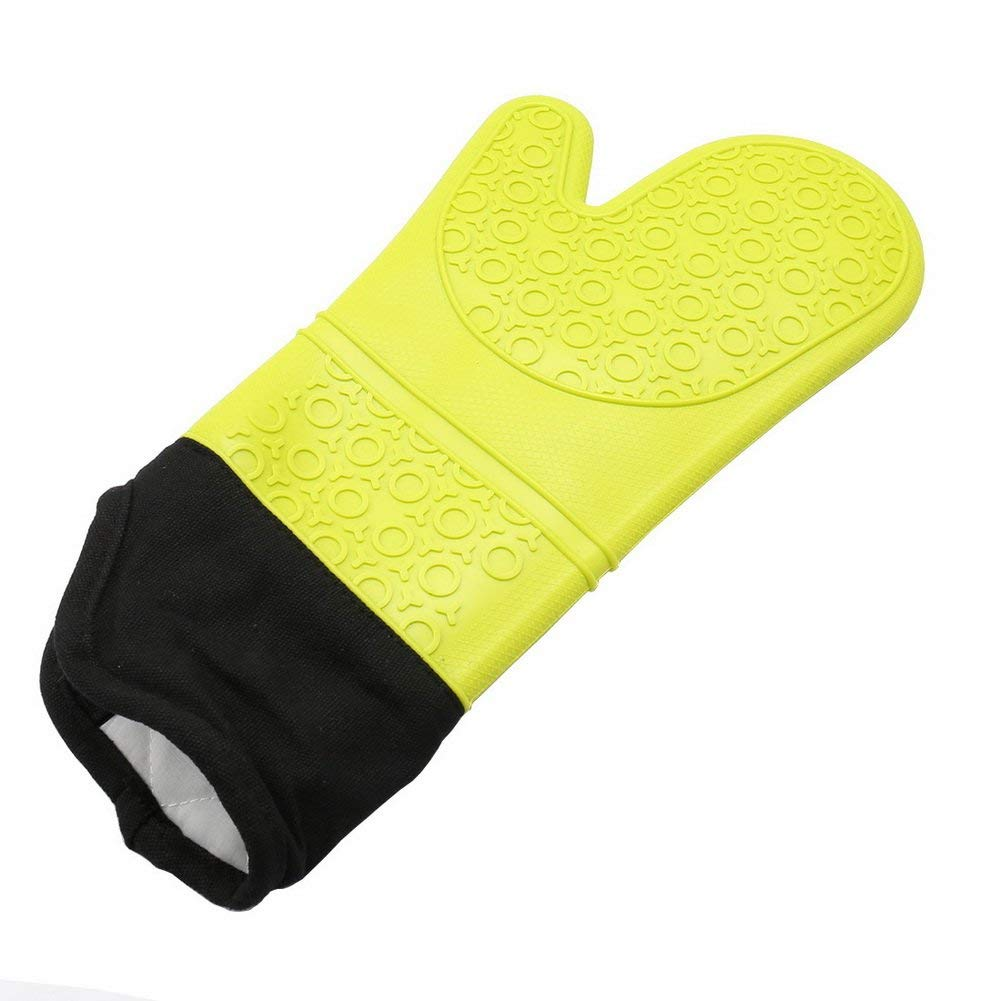 Extra Long Professional Silicone Oven Mitt-1 Pair-Thicken Heat Resistant Anti - Scalding Microwave Gloves-Yellow