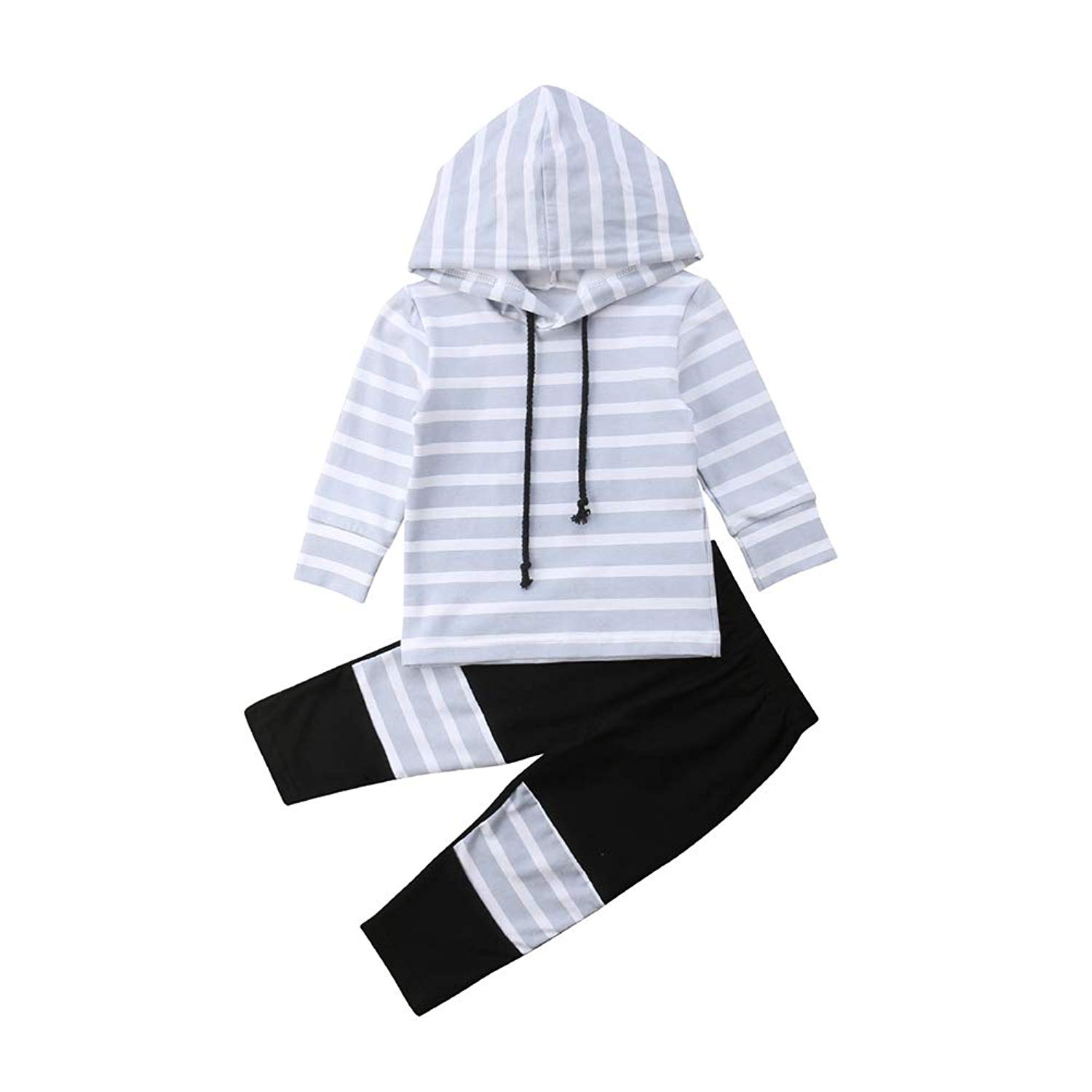 Autumn and Spring Unisex Kids Hooded Sweater Pants Two-Piece Kids Stripe Clothes Set
