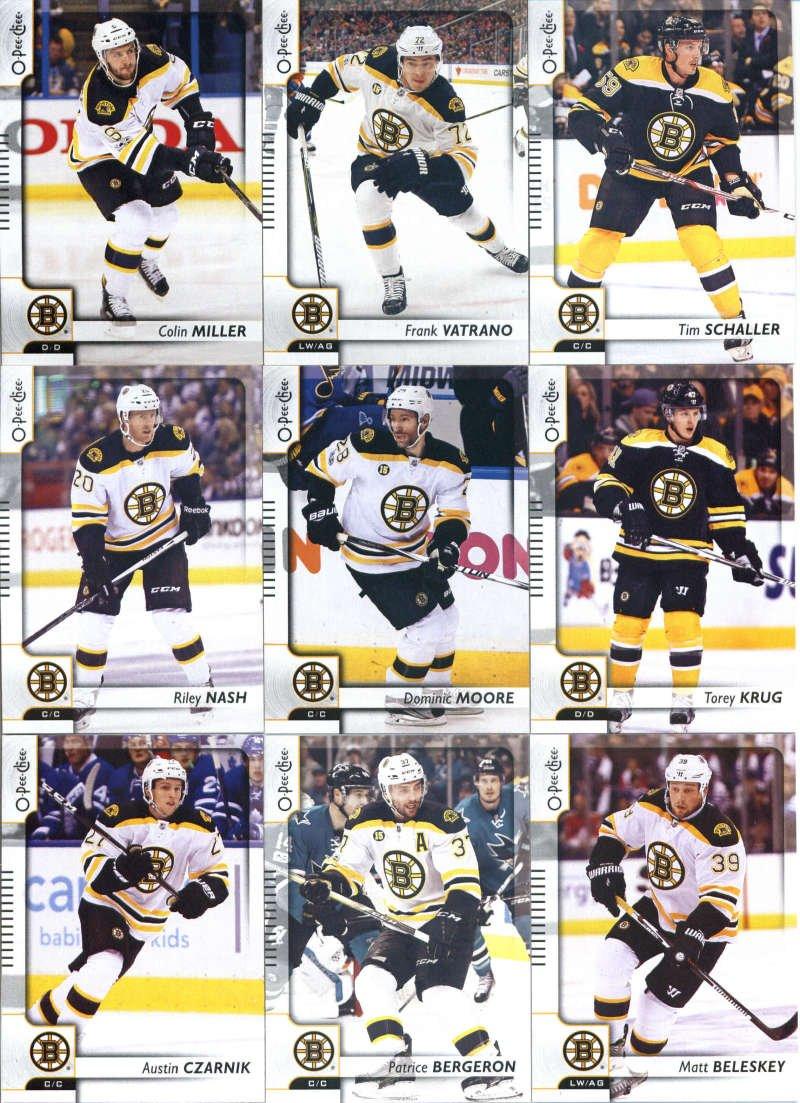 2017-18 O-Pee-Chee Hockey Boston Bruins Team Set of 18 Cards: David Pastrnak(#44), Brandon Carlo(#60), Ryan Spooner(#83), David Krejci(#113), Drew Stafford(#123), Zdeno Chara(#154), Tuukka Rask(#181), Brad Marchand(#205), David Backes(#240), Austin Czarnik(#283), Patrice Bergeron(#317), Matt