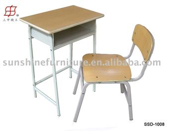 Student School Desk And Chair Wooden Top And Metal Frame - Buy Metal Frame  Wooden Table And Chair,Comfortable School Desk And Chair,Wood Student Chair  ...