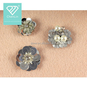 Beads,Rhinestones,Pearls Decoration Beaded Silver Sequin Flower