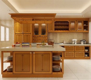 Private Custom Wood Carving Kitchen Cabinet Solid Wood Kitchen