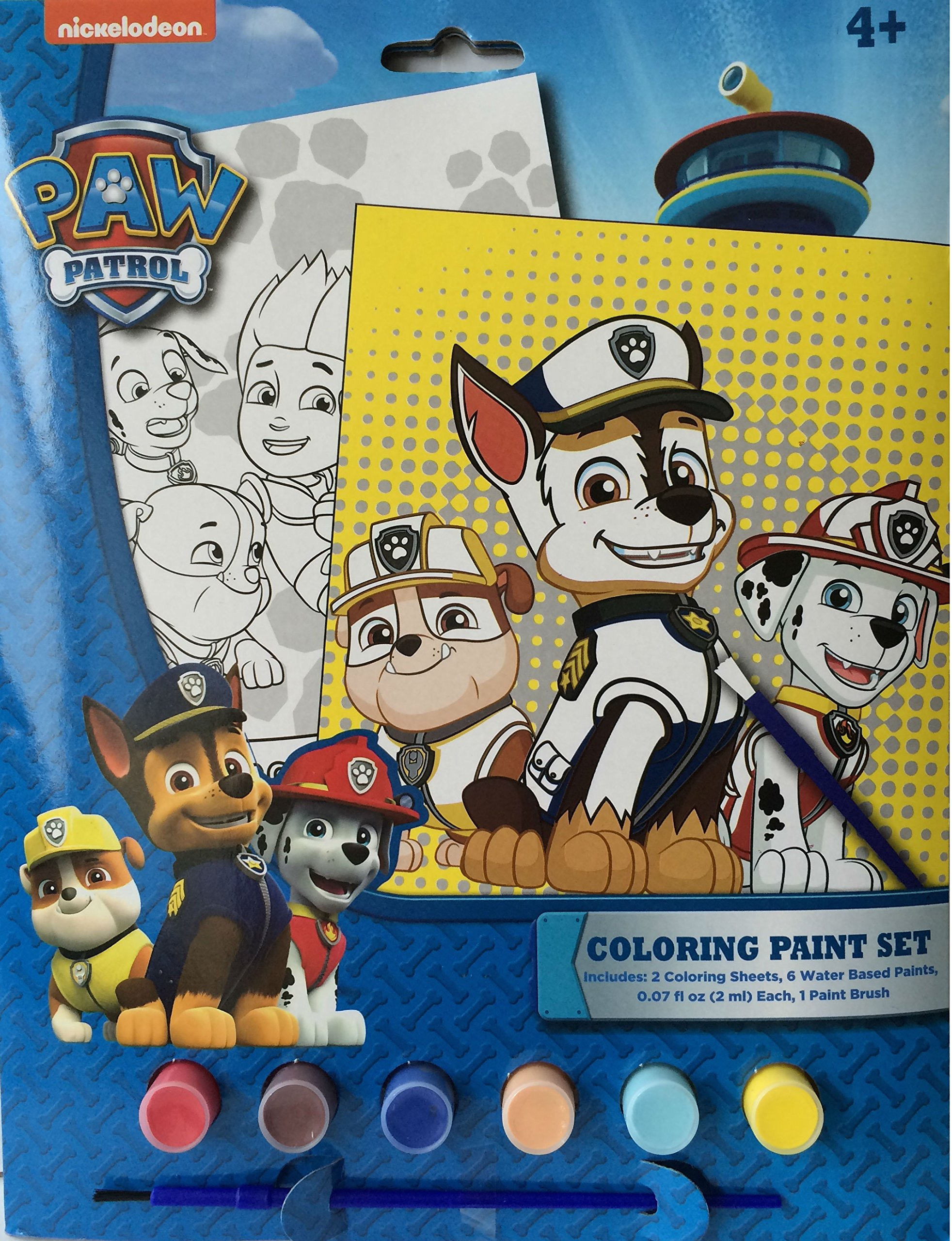 Paw Patrol Coloring Paint Set includes: 2 coloring sheets, 6 water based paints, and 1 paint brush