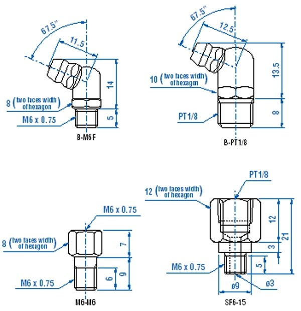 5 x 1//8 BSP 45 DEGREE ANGLE GREASE NIPPLES Hydraulic