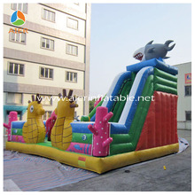 Commercial cheap giant outdoor playground Shark inflatable water slide for sale for kids and adults