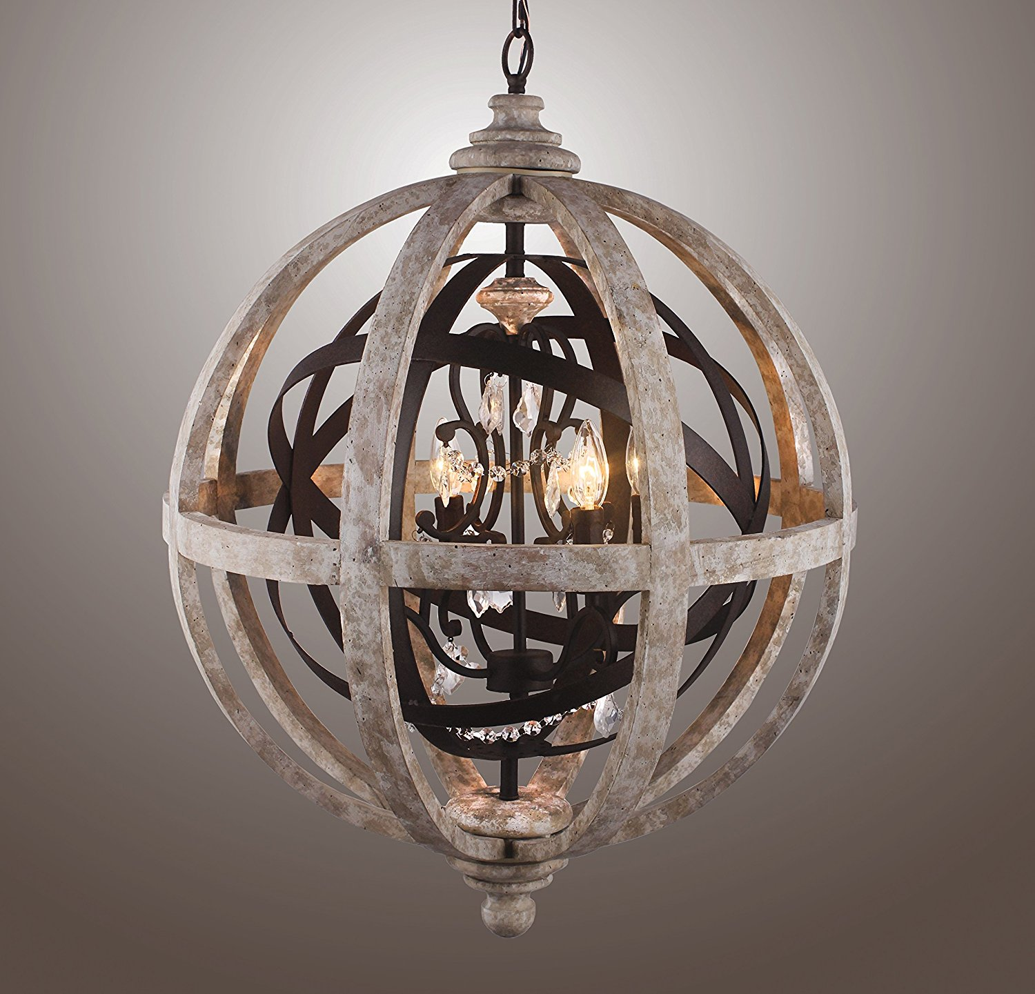 "24"" Rustic Vintage French Country Wood Metal Orbed Globe Chandelier Pendant (4 Light Heads) Rustic Iron"