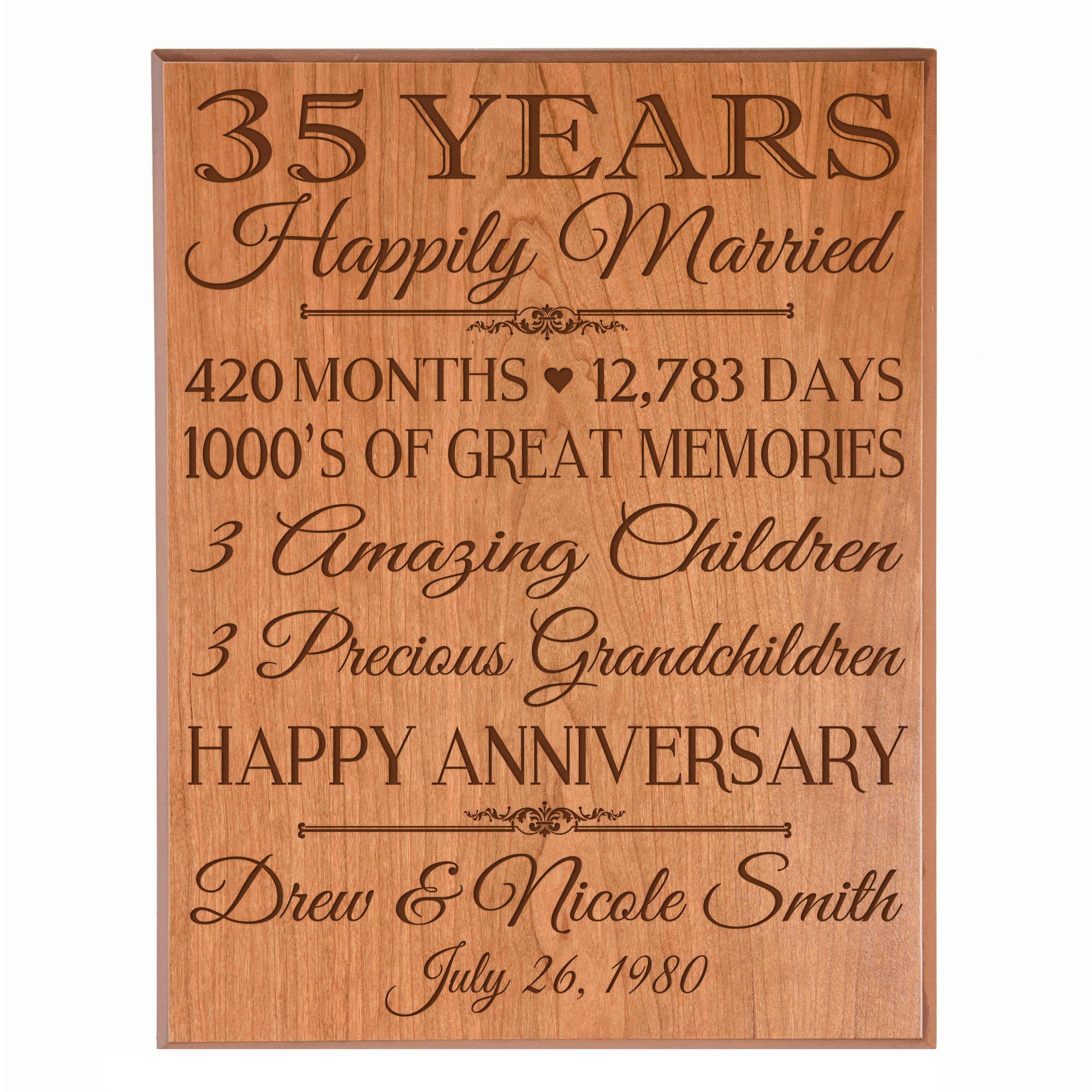 """Personalized 35th Anniversary Gifts for him her Couple parents, Custom Made 35 year Anniversary Gifts ideas Wall Plaque 12"""" x 15"""" By Dayspring Milestones (Cherry Veneer Wood)"""