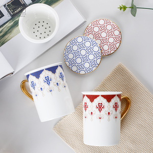 hot sell floral milk modern creative marble ceramic eco coffee porcelain christmas mugs set factory wholesale for mr & mrs