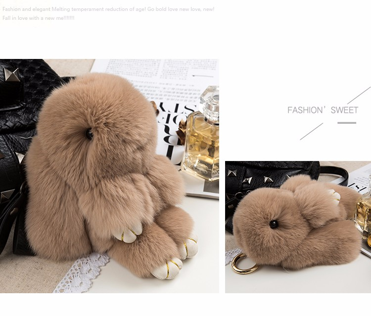 Adorable bunny patten fur car accessory real rex rabbit fur keychains