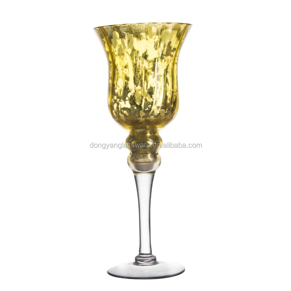 2017 35/25cm printing gold decal silver plated long-stem glass goblet candle holder for home bar party hotel wedding decoration