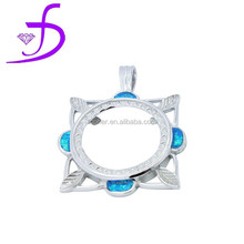 2015 diamond shaped pendant silver charms display bali jewelry wholesale opal pendant