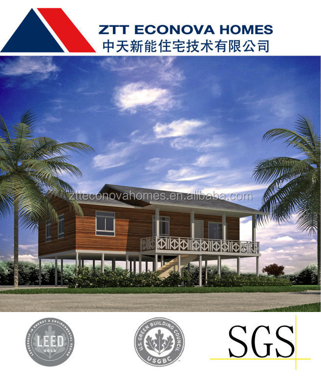 Single family prefabricated module house light steel structure and solar roof pv system